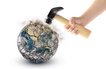 globe being smashed